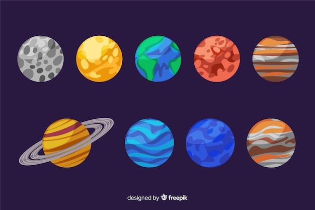 Conjunto de planetas do sistema solar de mão desenhada