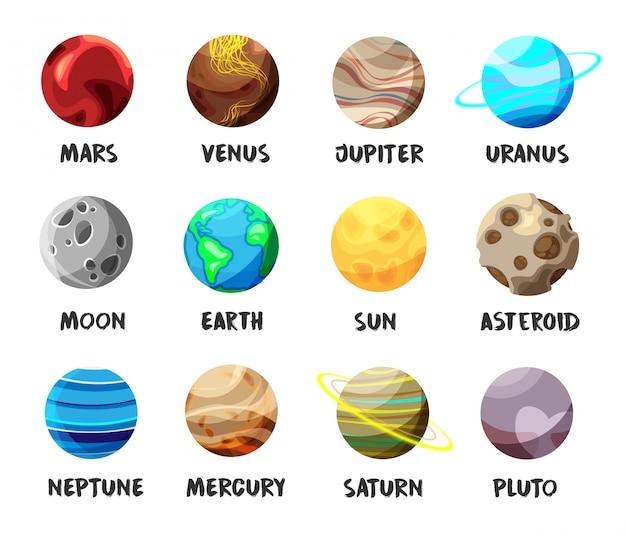 Conjunto de planetas do sistema solar isolado no branco