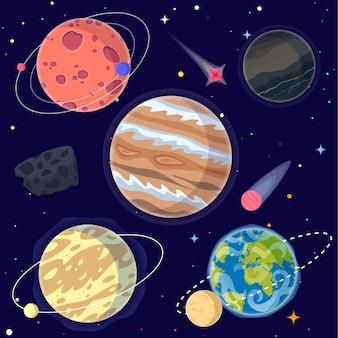 Conjunto de planetas dos desenhos animados e elementos do espaço.