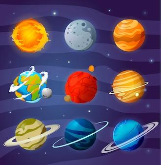 Conjunto de planetas dos desenhos animados
