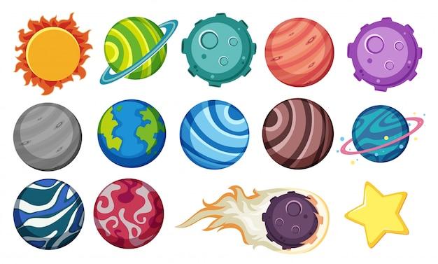 Conjunto de planetas e estrelas