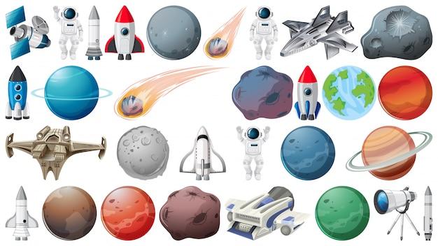 Conjunto de planetas e objetos espaciais