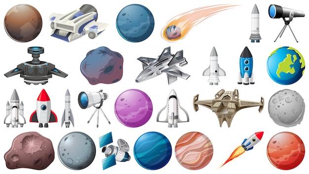 Conjunto de planetas, foguetes e objetos espaciais