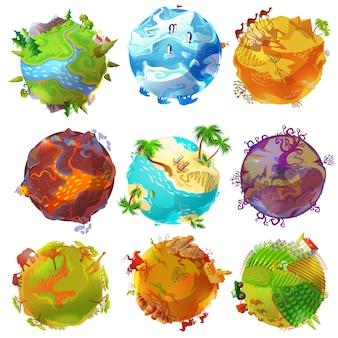 Conjunto de planetas terrestres de desenhos animados