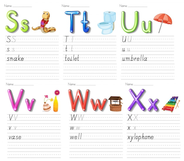 Conjunto de planilha de alfabeto em papel branco