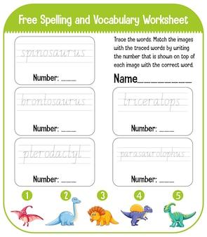 Conjunto de planilha de prática de escrita à mão de dinossauro para soletrar palavras