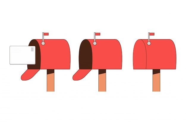 Conjunto de plano de caixa de correio isolado em um fundo branco.