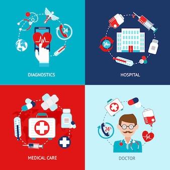 Conjunto de plano de elementos médicos