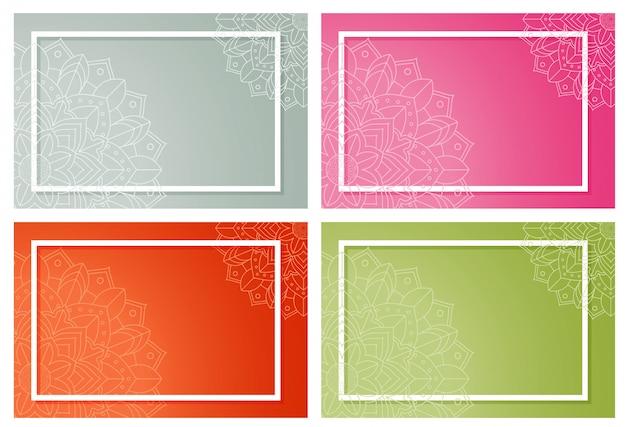 Conjunto de plano de fundo com padrões de mandala