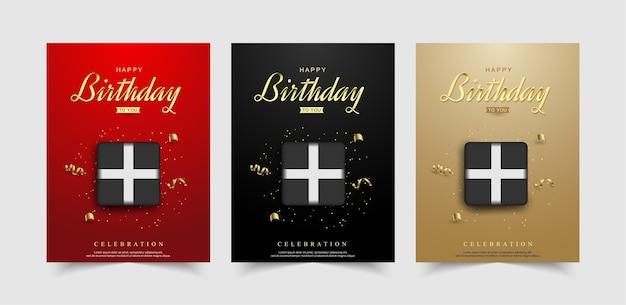 Conjunto de plano de fundo de feliz aniversário com caixa de presente realista.
