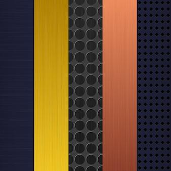 Conjunto de plano de fundo de peça de metal de textura