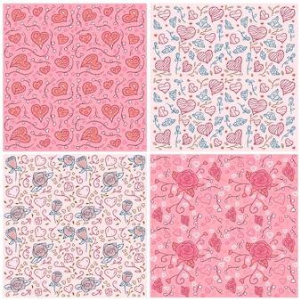 Conjunto de plano de fundo dia dos namorados com corações e rosas