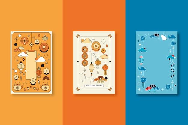 Conjunto de plano de fundo do festival chinês do meio do outono em laranja e azul