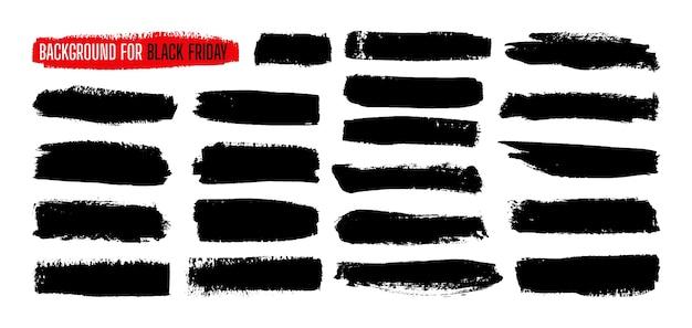 Conjunto de plano de fundo do modelo de tinta de listra de venda black friday