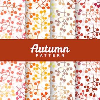 Conjunto de plano de fundo do outono ramo baga fruta sem costura padrão