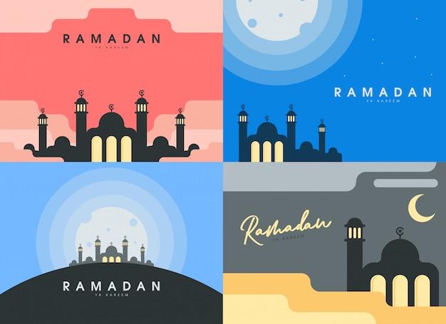 Conjunto de plano de fundo ilustração plana ramadan