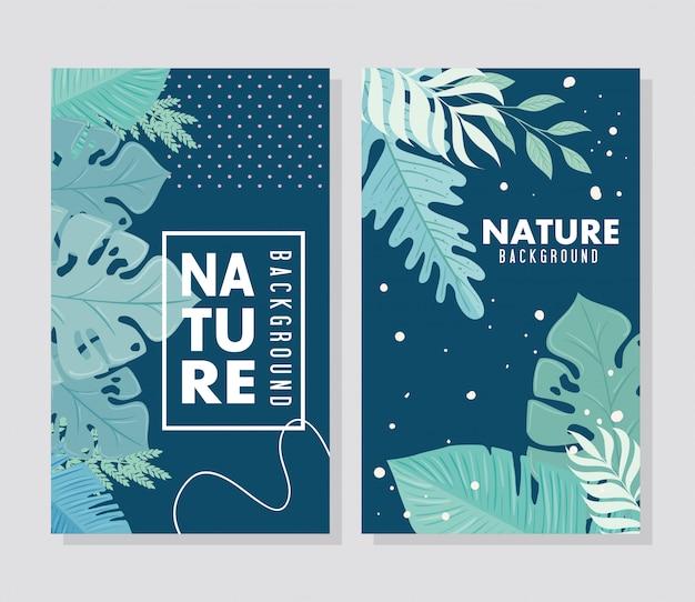 Conjunto de plano de fundo natureza, ramos com folhas de natureza tropical de cor pastel