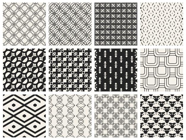 Conjunto de plano de fundo padrão geométrico monocromático.