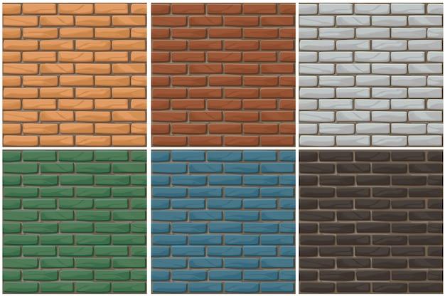 Conjunto de plano de fundo sem emenda da parede de tijolo.
