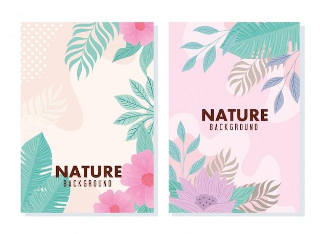 Conjunto de plano de fundo tropical e flores com folhas de cor pastel
