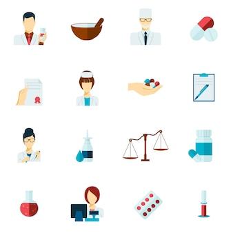 Conjunto de plano de ícone de farmacêutico