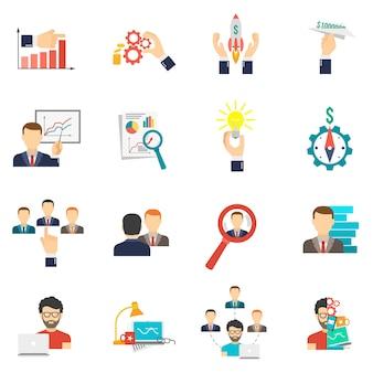 Conjunto de plano de ícone de negócios