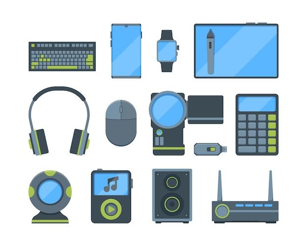 Conjunto de planos de diferentes aparelhos eletrônicos modernos. mouse e teclado de computador, webcam, fones de ouvido.