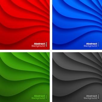 Conjunto de planos de fundo coloridos ondulados. ilustração vetorial