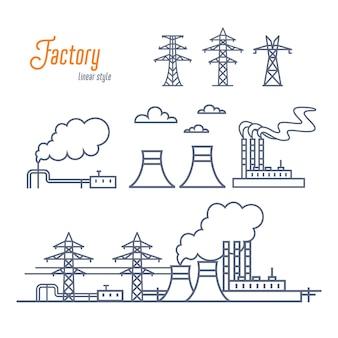 Conjunto de planta de energia ou fábrica industrial