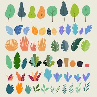 Conjunto de plantas, árvores, folhas, galhos, arbustos e vasos