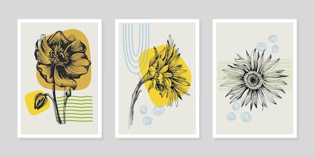 Conjunto de plantas de arte de parede de flores de girassóis. folhagem da arte de linha da natureza, desenho com forma abstrata.