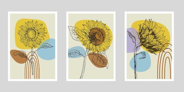 Conjunto de plantas de arte de parede de flores de girassóis.