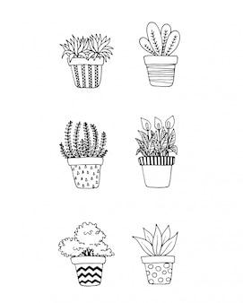 Conjunto de plantas de doodle em potes