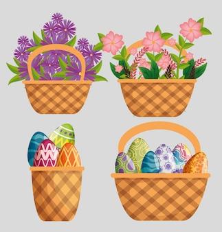Conjunto de plantas de flores com decoração de folhas e ovos dentro da cesta