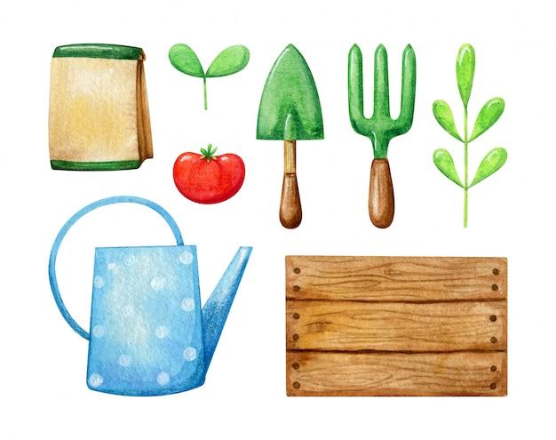 Conjunto de plantas de primavera e ferramentas de jardim. a coleção inclui pacote para sementes, broto, tomate, folha, garfo e colher de pedreiro, regador. jardinagem em aquarela de primavera.