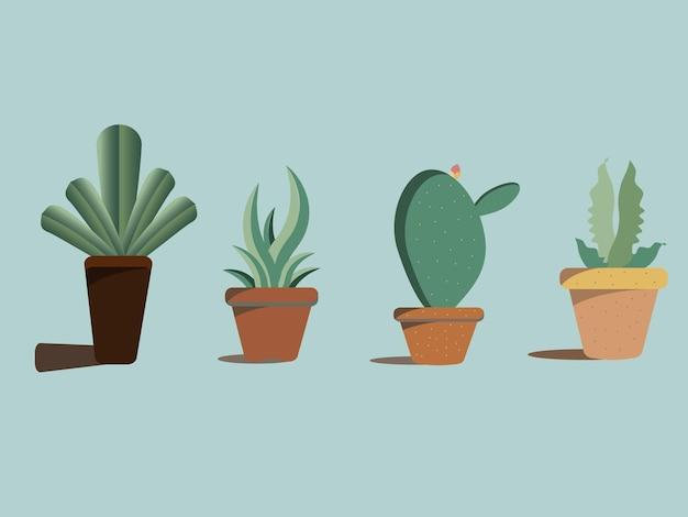 Conjunto de plantas decorativas em vasos isolados em fundo pastel.