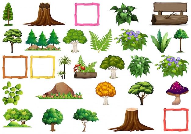 Conjunto de plantas diferentes natureza, árvores e objetos