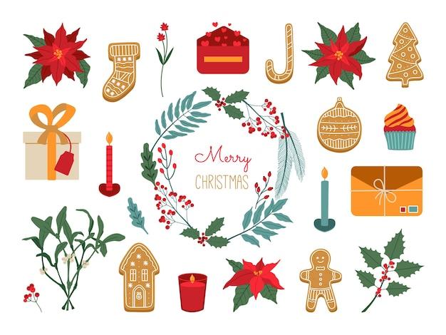 Conjunto de plantas e elementos de natal. coleção de mão desenhada com símbolo de férias de ano novo, poinsétia, coroa de flores, pão de gengibre.