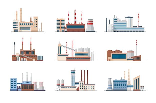 Conjunto de plantas e fábricas. edifícios industriais com cachimbos de fumaça isolados no branco