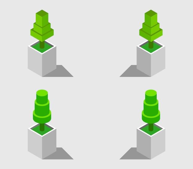 Conjunto de plantas isométricas