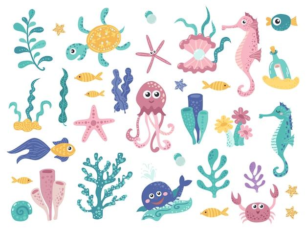 Conjunto de plantas marinhas e habitantes aquáticos