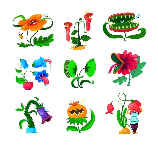 Conjunto de plantas-monstro