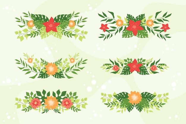 Conjunto de plantas tropicais e coroa de flores, coroa de folhas tropicais exóticas e emblema