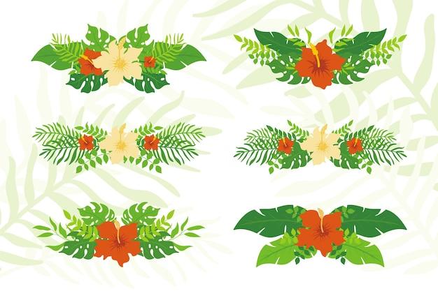 Conjunto de plantas tropicais e coroas florais, coroas de folhas tropicais exóticas e distintivos