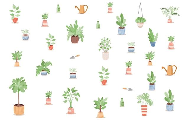 Conjunto de plantas verdes, árvores e flores em vasos e ferramentas de jardinagem
