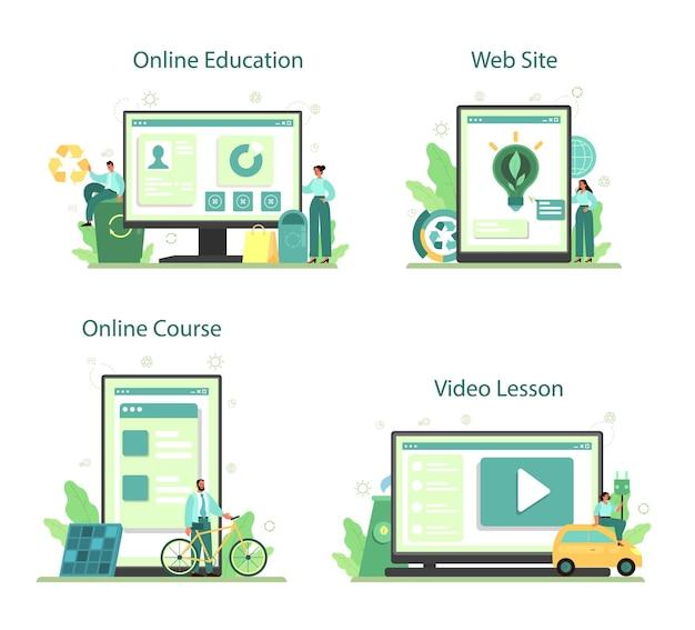 Conjunto de plataforma ou serviço online empresarial ecológico