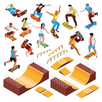 Conjunto de plataformas de skate isométrico de elementos de parque de skate isolado vigas de rolos e personagens humanos de ilustração vetorial de atletas