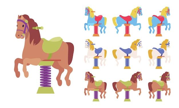 Conjunto de playground horse spring rider, bouncy, dispositivo de brincar ao ar livre