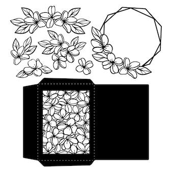 Conjunto de plotagem de casamento coleção monocromática de férias de flores e cartão de saudações contornos abertos para corte e impressão conjunto de ilustração vetorial clipart cartoon