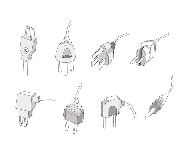Conjunto de plugues de energia ou plugues elétricos